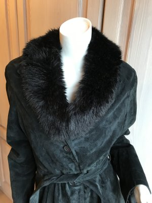 Ann LLewellyn Leather Coat black suede