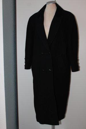 Mantel Wintermantel lang schwarz 100% Wolle 42 L XL Wollmantel