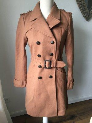 Mantel Wolle Gr. 34 XS Cognac hellbraun zweireihig