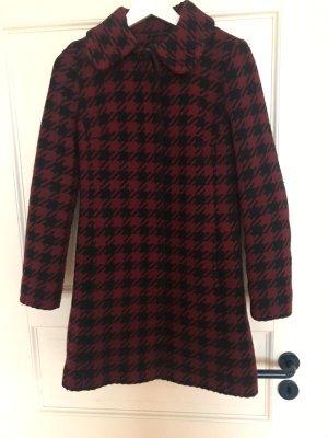 Mantel Wollmantel Hallhuber rot schwarz 34 XS