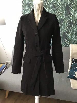 Mantel Wollmantel lang schwarz Gürtel klassisch