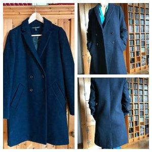 Mantel Wollmantel Zara XS 34 dunkelblau Neu