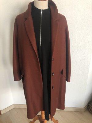 Zara Heavy Pea Coat cognac-coloured