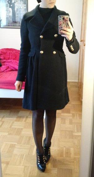 Mantel Zara Gr. 36 S 34 XS dunkelblau Damen Militäry wolle Wollmantel