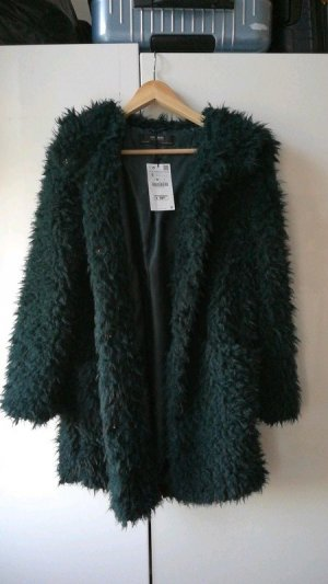 Mantel Zara Grün wie Neu XS Fake Fur Flauschig