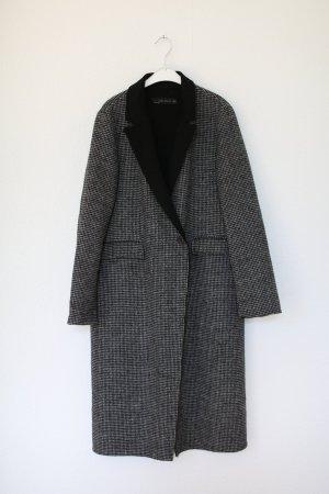 Mantel Zara kariert schwarz grau Vintage 60s Look Wolle Gr. S Oversized