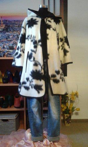 Zara Basic Gabardina tipo vestido negro-blanco puro