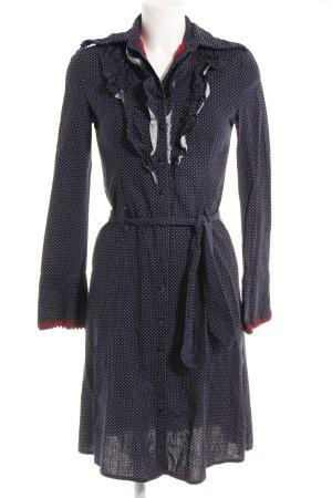 Geklede jurk donkerblauw-wit gestippeld patroon Paris-Look