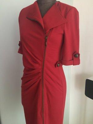 Mantelkleid Kleid mit Reißverschluss Gr 36 38 S rot