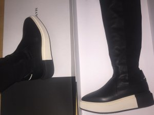 Stretch Boots black-white leather