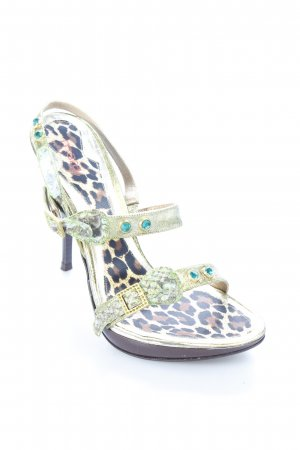 Mara Strapped High-Heeled Sandals gold-colored-lime-green animal pattern