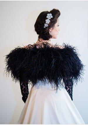 marabu feder jacke cape bolero shrug hochzeit Konfirmation Braut coachella boho Np: 220€