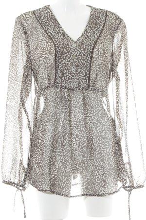 Marc Adam Transparenz-Bluse graubraun-weiß abstraktes Muster Casual-Look