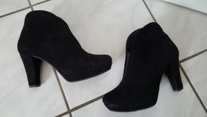 Marc Picard Peep Toe Booties black suede