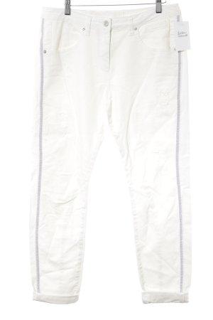 Marc Aurel Pantalon 7/8 blanc cassé-argenté style décontracté