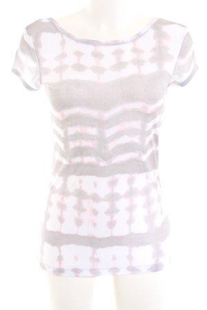 Marc Aurel Batik shirt lichtgrijs-roze abstract patroon casual uitstraling