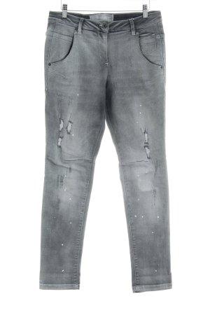 Marc Aurel Jeans boyfriend gris motif tache de couleur style déchiré
