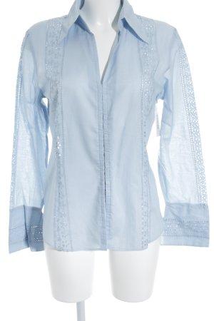 Marc Aurel Chemise à manches longues bleu clair motif tricoté lâche