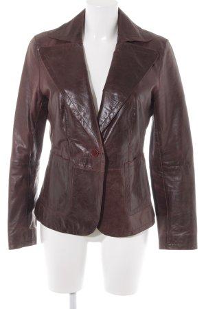 Marc Aurel Blazer en cuir brun rouge style décontracté