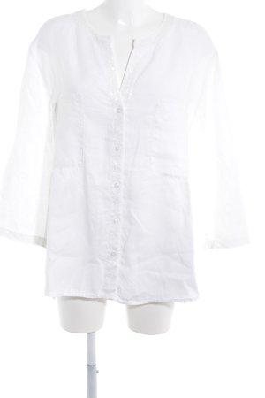 Marc Aurel Blusa de lino blanco look casual