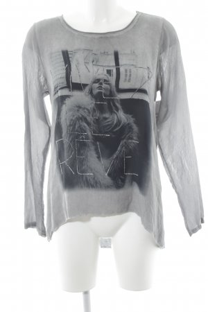 Marc Aurel Longsleeve grau-schwarz Motivdruck Casual-Look