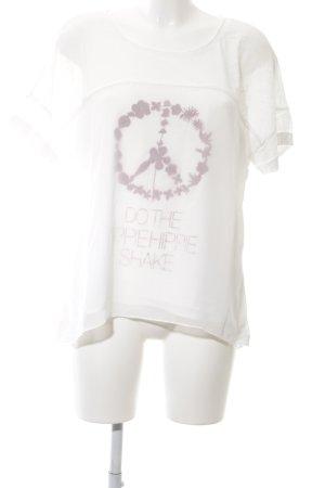Marc Aurel Oversized Shirt weiß-lila Motivdruck Casual-Look