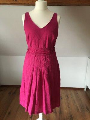 Marc Aurel Pinkes Kleid Leinenkleid Baumwolle 40 L M vausschnitt