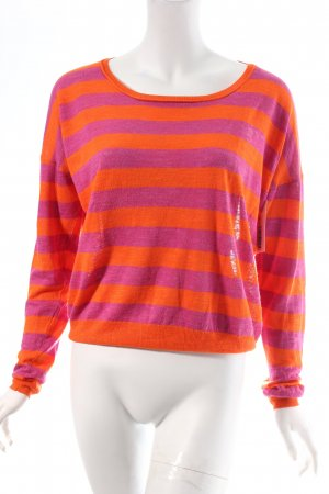 Marc Aurel Rundhalspullover orange-magenta Streifenmuster Casual-Look