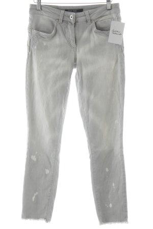 Marc Aurel Skinny Jeans hellgrau Batikmuster Used-Optik
