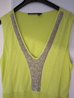 Marc Aurel Sommerkleid Gelb mit Perlenbesticktem Ausschnitt