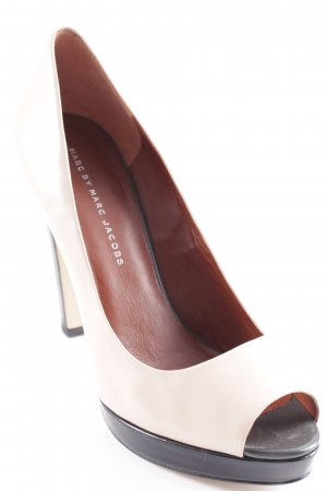 Marc by Marc Jacobs Peeptoe Pumps nude-anthrazit Glanz-Optik