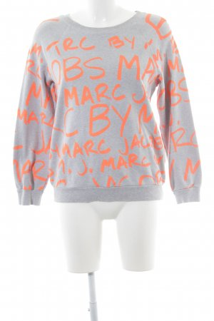 Marc by Marc Jacobs Sweatshirt hellgrau-neonorange Schriftzug gedruckt