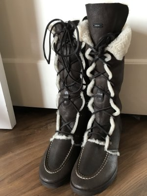 Marc Cain Fur Boots black brown-oatmeal fur
