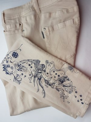 Marc Cain 5 Pocket Jeans, Straight/Slim mit Tatoo Muster, Gr. 38/40