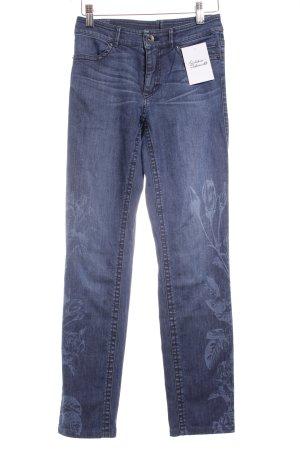 Marc Cain 7/8 Jeans dunkelblau-hellblau florales Muster klassischer Stil