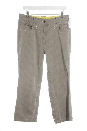 Marc Cain Jeans 7/8 marron clair-blanc cassé rayure fine style décontracté