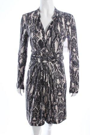 Marc Cain A-Linien Kleid wollweiß-anthrazit abstraktes Muster Eleganz-Look
