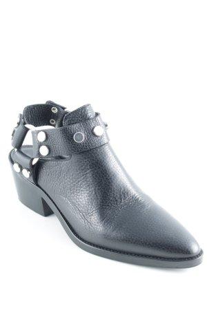 Marc Cain Ankle Boots schwarz-silberfarben Biker-Look