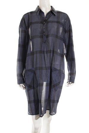 Marc Cain Blusenkleid dunkelblau-schwarz Karomuster Casual-Look