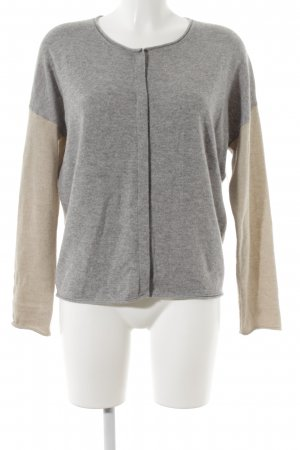 Marc Cain Cashmerepullover grau-creme Colourblocking Casual-Look
