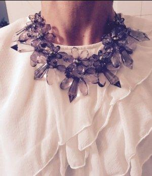 Marc Cain Collier Statement Kette Highlight Edel Glassteine Grau Anthrazit Silber Blumen NEU