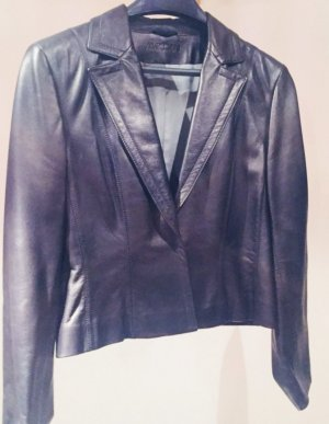 Marc Cain Leather Blazer black leather