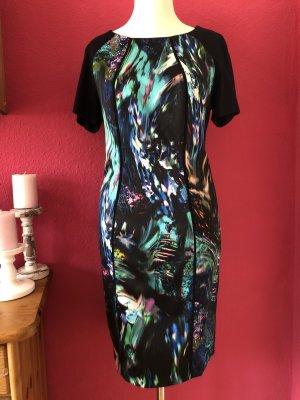 Marc Cain dunkelblaues Kleid mit gemusterten Einsätzen