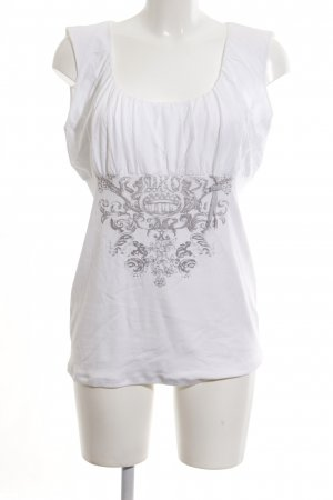 Marc Cain Empire Waist Top white-light grey themed print casual look
