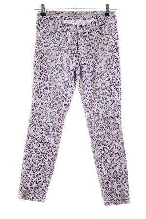 Marc Cain Pantalon cinq poches rose-noir imprimé allover style extravagant