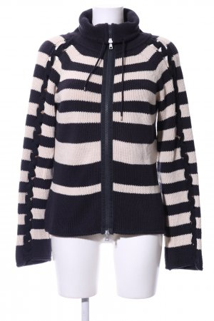 Marc Cain Coarse Knitted Jacket blue-cream striped pattern casual look
