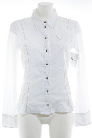 Marc Cain Hemd-Bluse weiß-beige Business-Look