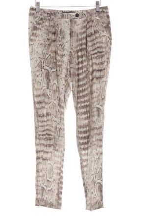 Marc Cain Hoge taille broek licht beige-zwart dierenprint elegant