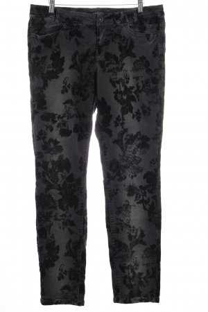 Marc Cain Hose schwarz-anthrazit florales Muster Casual-Look