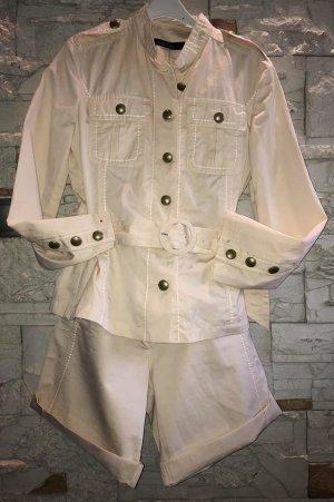 Marc Cain Tailleur-pantalon beige clair-blanc cassé tissu mixte